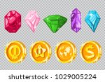 gems and gold coins. vector... | Shutterstock .eps vector #1029005224