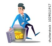 happy businessman sitting on... | Shutterstock .eps vector #1029011917