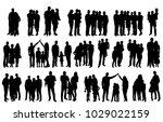 silhouette family  set | Shutterstock .eps vector #1029022159