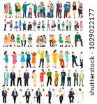 isolated isometric people set... | Shutterstock .eps vector #1029022177