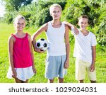 cheerful young girl with two... | Shutterstock . vector #1029024031