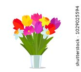 beautiful bouquet of colorful... | Shutterstock .eps vector #1029025594