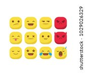 unique round emoji emoticon... | Shutterstock .eps vector #1029026329