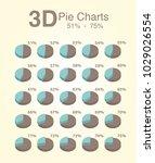 pie charts 3d 51 75 | Shutterstock .eps vector #1029026554