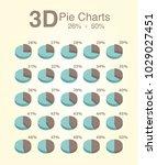 pie charts 26 50 3d  | Shutterstock .eps vector #1029027451