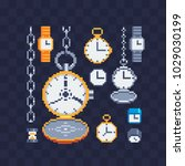 locks and watches icons set... | Shutterstock .eps vector #1029030199