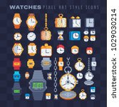 clocks and watches icons set... | Shutterstock .eps vector #1029030214