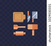 kitchenware pixel art icon set... | Shutterstock .eps vector #1029030331