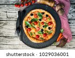 tasty pizza on a the table   Shutterstock . vector #1029036001