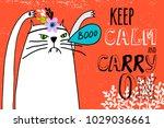 white cat on orange background... | Shutterstock .eps vector #1029036661