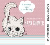 baby shower card template with...   Shutterstock .eps vector #1029036901