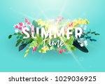 white volumetric inscription on ... | Shutterstock .eps vector #1029036925