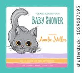 baby shower card template with...   Shutterstock .eps vector #1029037195