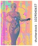 modern glitch design poster or... | Shutterstock .eps vector #1029040657