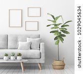interior poster mock up with... | Shutterstock . vector #1029045634