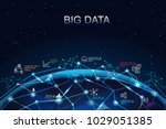 big data network concept.... | Shutterstock .eps vector #1029051385
