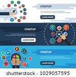 startup flat icon concept.... | Shutterstock .eps vector #1029057595