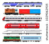 passenger train set. train... | Shutterstock .eps vector #1029062935