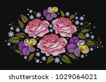 flowers roses and pansies... | Shutterstock .eps vector #1029064021