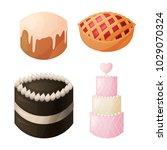 a set of sweet baked goods for... | Shutterstock .eps vector #1029070324