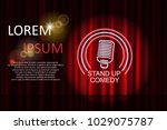 stand up comedy with neon... | Shutterstock .eps vector #1029075787
