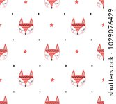 seamless pattern with fox's... | Shutterstock .eps vector #1029076429