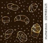 tea party elements. golden hand ... | Shutterstock .eps vector #1029083125