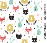 seamless pattern with cute... | Shutterstock .eps vector #1029086941