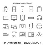 devices  bold line icons. the... | Shutterstock .eps vector #1029086974