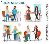 business partnership set vector.... | Shutterstock .eps vector #1029087781