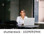 a young job seeker applies for... | Shutterstock . vector #1029092944