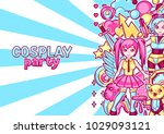japanese anime cosplay party... | Shutterstock .eps vector #1029093121