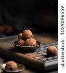chocolate truffle. dark... | Shutterstock . vector #1029096559