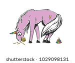 embarrassed unicorn with... | Shutterstock .eps vector #1029098131