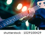 man playing bass on a stage... | Shutterstock . vector #1029100429