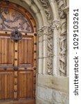 ancient engraved wooden  doors... | Shutterstock . vector #1029103261