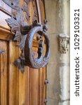 ancient engraved wooden  doors... | Shutterstock . vector #1029103321