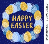 easter wreath with easter eggs...   Shutterstock .eps vector #1029103369