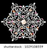 mandala brooch jewelry  design... | Shutterstock .eps vector #1029108559
