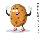 cartoon chocolate chips cookie... | Shutterstock .eps vector #1029109924
