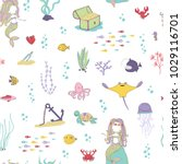 mermaids and sea animals.... | Shutterstock .eps vector #1029116701