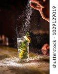 bartender finishes preparation... | Shutterstock . vector #1029129019