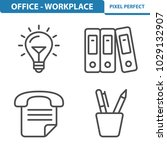 office   workplace icons.... | Shutterstock .eps vector #1029132907