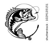 fishing logo. bass fish with... | Shutterstock .eps vector #1029135151