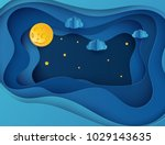 paper art moon  fluffy clouds... | Shutterstock .eps vector #1029143635