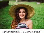 young mixed woman  wearing a... | Shutterstock . vector #1029145465