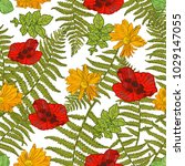 floral hand drawn spring... | Shutterstock .eps vector #1029147055