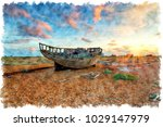 watercolour painting of an old...   Shutterstock . vector #1029147979