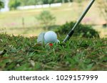 blurred golf club and golf ball ... | Shutterstock . vector #1029157999