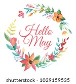 wreath of colorful wildflower... | Shutterstock . vector #1029159535